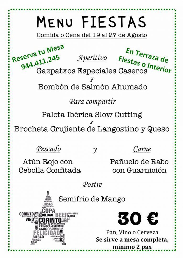 Menú Bilbao Aste Nagusia 2017 Corinto