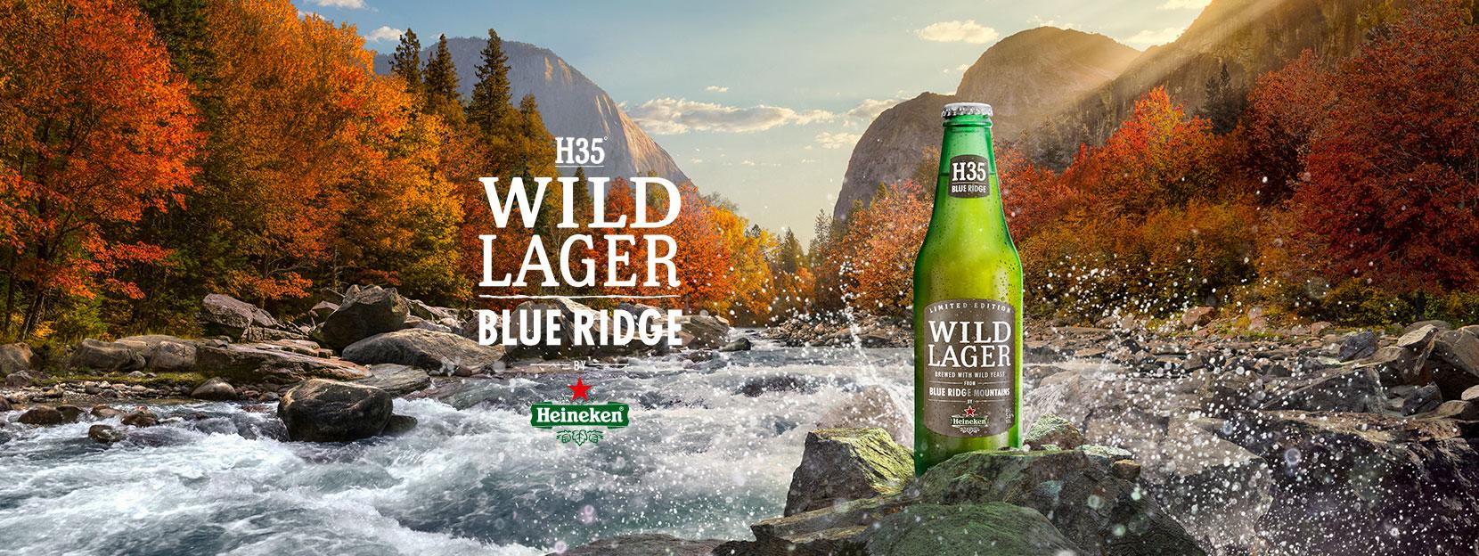 HEINEKEN® WILD LAGER BLUE RIDGE Hecha con levadura salvaje de las montañas Blue Ridge