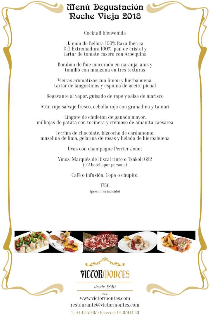 Menú Degustación de Nochevieja en el Restaurante Víctor Montes de Bilbao