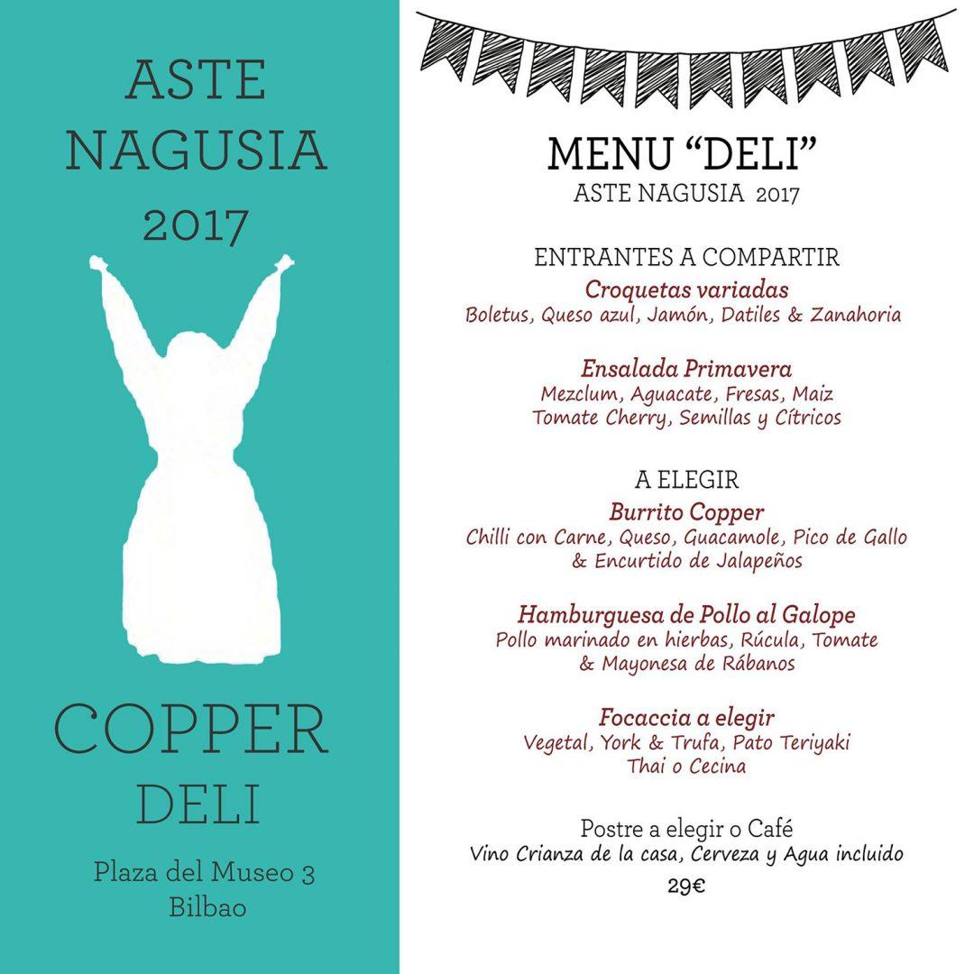 Menús Aste Nagusia 2017 en Copper Deli