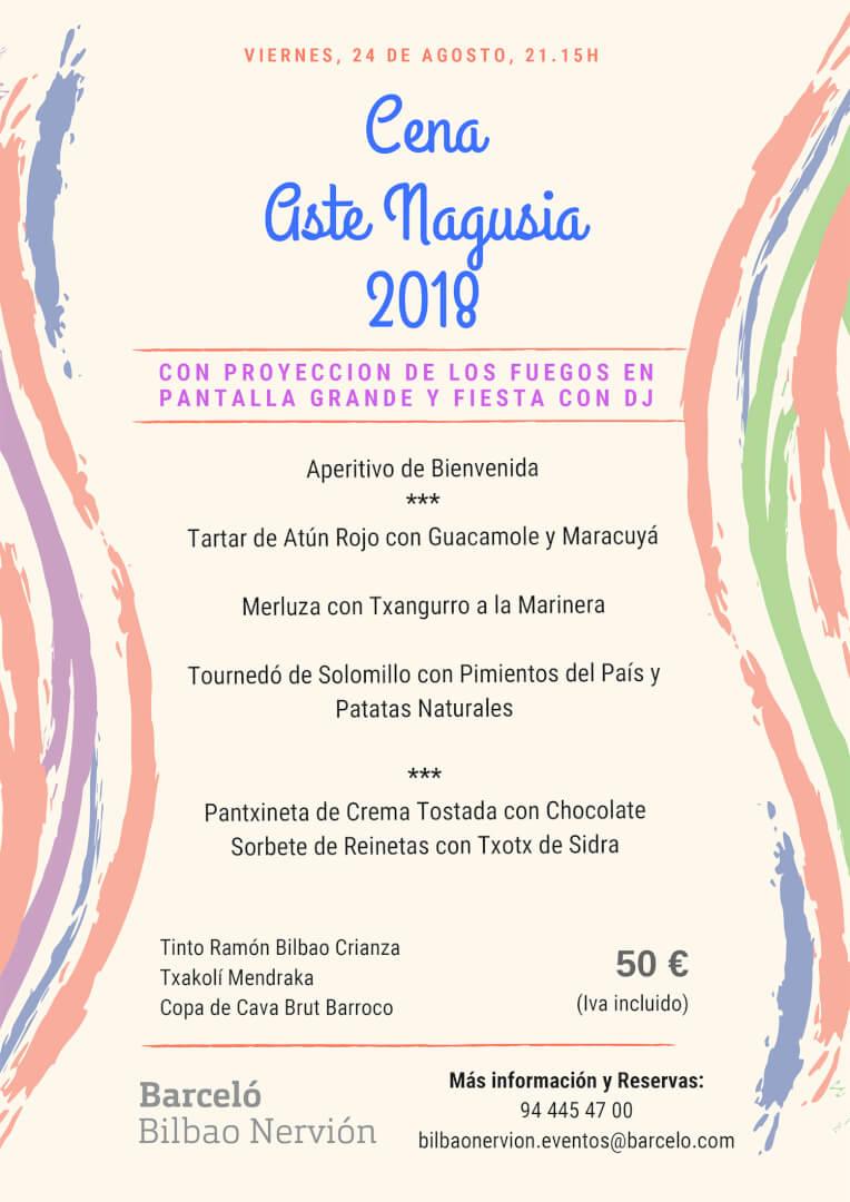 Menú Cena Aste Nagusia 2018 Hotel Barceló Bilbao Nervión