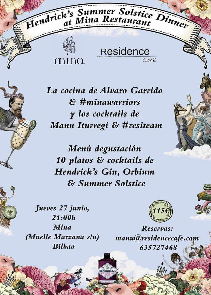 Cena Maridaje con Hendrick's en el Restaurante Mina de Bilbao