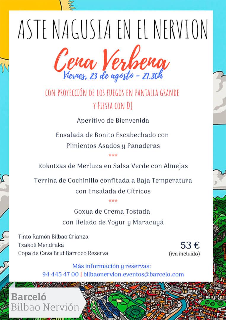 Menú Cena Verbena Aste Nagusia 2019 Hotel Barceló Bilbao Nervión