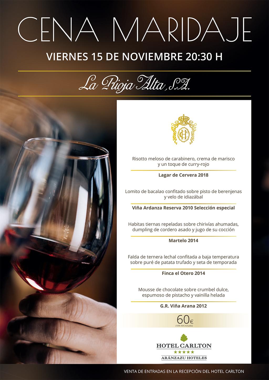 Cena Maridaje Bodegas Rioja Alta en el Hotel Carlton de Bilbao