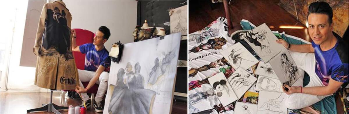 Peio Durán posa con pinturas y dibujos hechos por él, muchos le han servido después como boceto para sus trajes. / Olatz Hernández (El Correo)