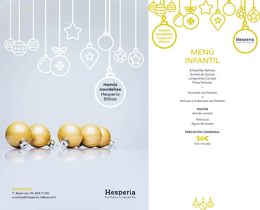 Menú Infantil Navidad Hotel Hesperia Bilbao