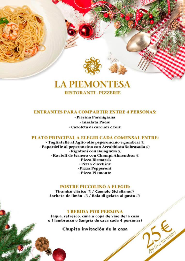 25€ - Menú de Navidad 2019 en La Piemontesa de Bilbao