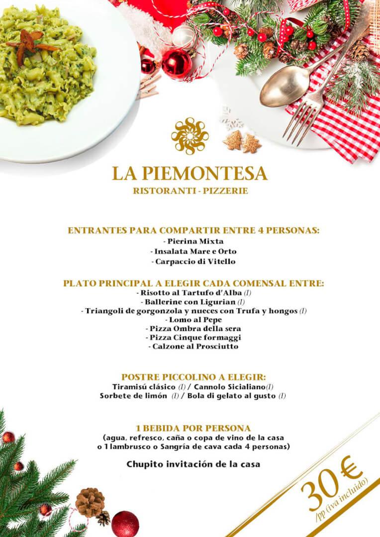 30€ - Menú de Navidad 2019 en La Piemontesa de Bilbao