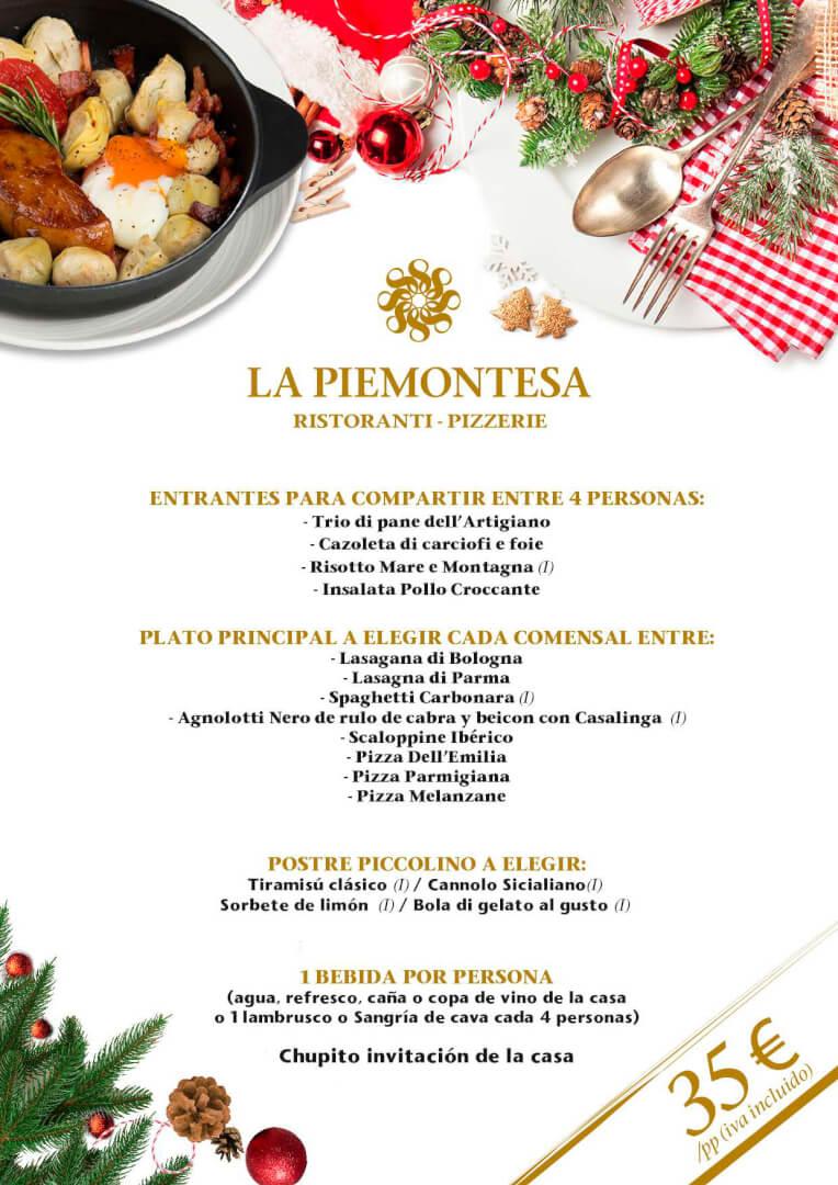 35€ - Menú de Navidad 2019 en La Piemontesa de Bilbao