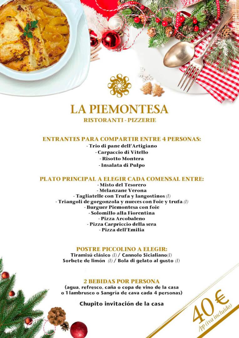 40€ - Menú de Navidad 2019 en La Piemontesa de Bilbao