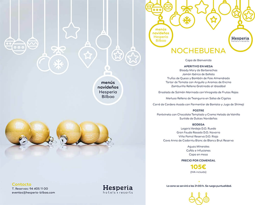 Menú de Nochebuena Hotel Hesperia Bilbao