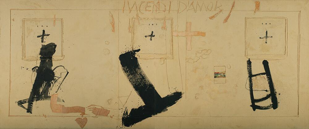 Antoni Tàpies (Barcelona, 1923- 2012) Incendi (Incendio), 1991 Acrílico, polvo de mármol, aglutinante, pigmentos y barniz sobre madera Museo Universidad de Navarra