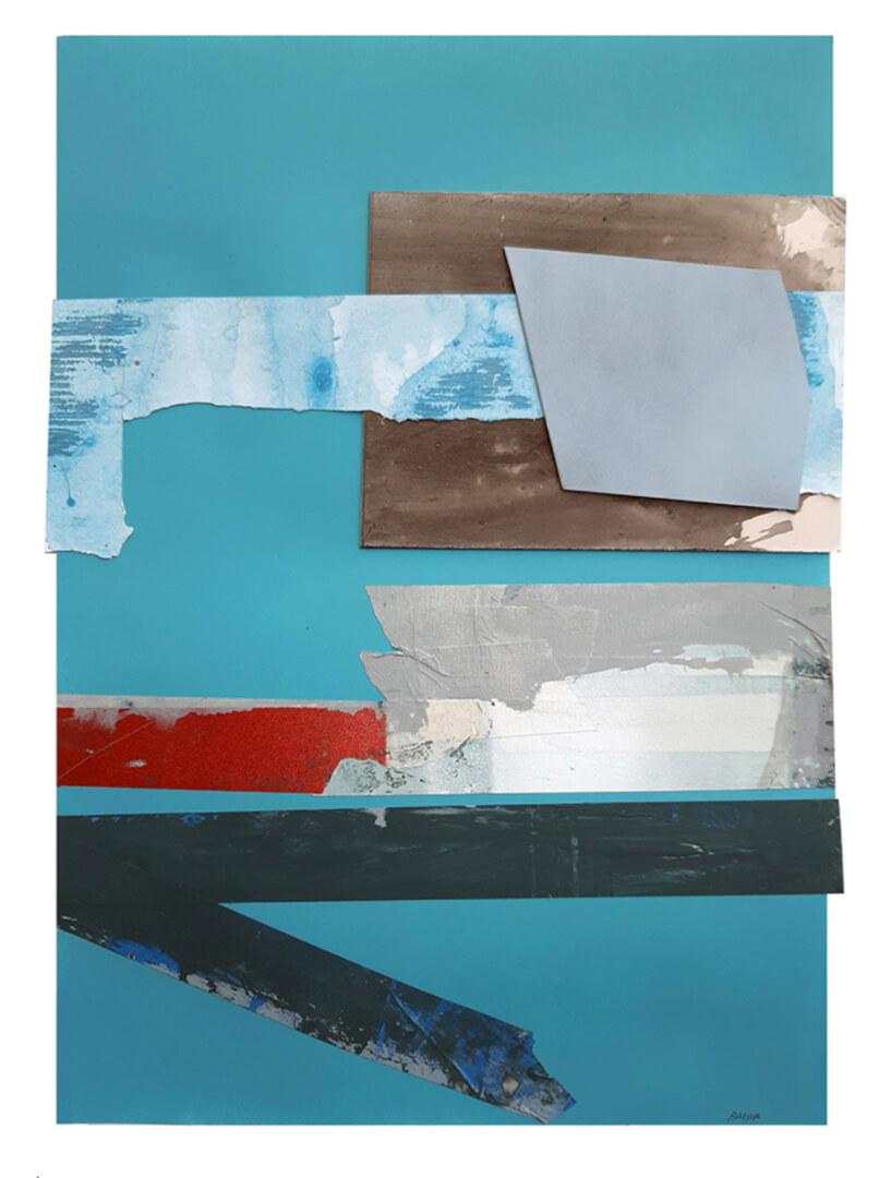 Javier Balda / sin titulo (2020). Técnica mixta y collage sobre papel 60 x 42 cms.