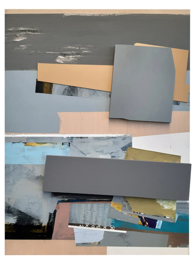 Javier Balda / sin titulo (2020). Técnica mixta y collage sobre tabla 240 x 180 x 9,5 cms