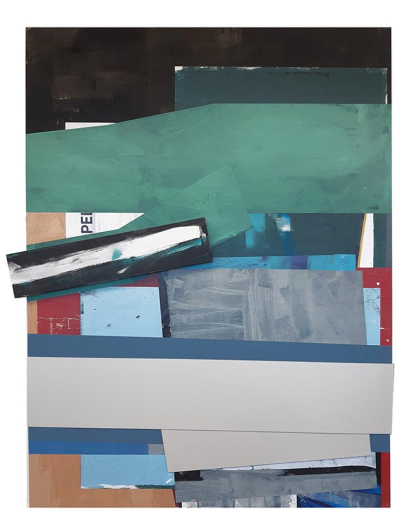 Javier Balda / sin titulo (2020). Técnica mixta y collage sobre tabla 240 x 184,5 x 9 cms.