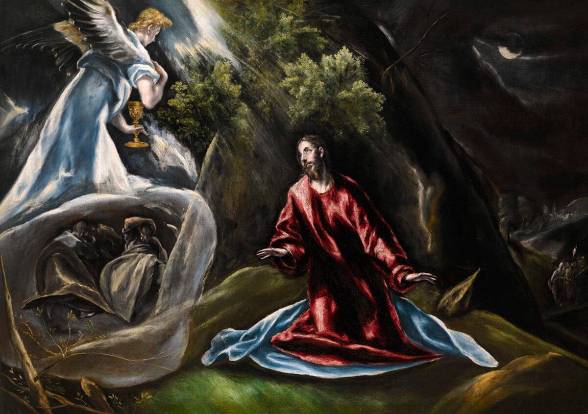 El Greco (Doménikos Theotokópoulos) (1541-1614). La Oración en el huerto de Getsemaní o Cristo en el Monte de los Olivos (c. 1600). Colección Pittas