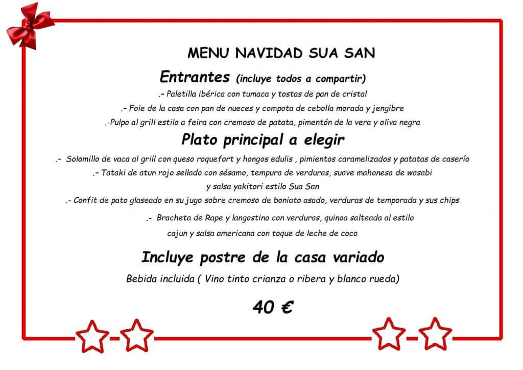 Menú de Navidad Sua San Bilbao