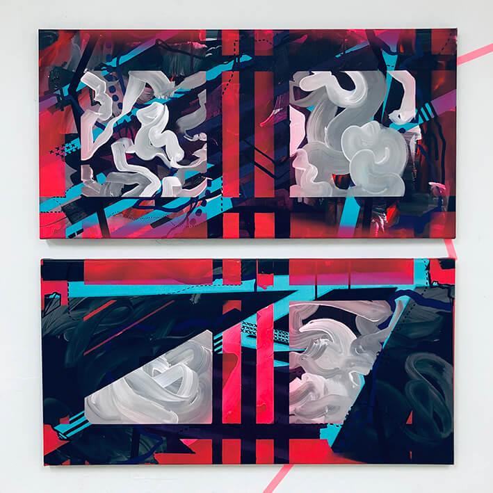 SÒNIA TONEU. ESPACIO, COMPRENSIÓN Y ESTRUCTURA (2020). Acrílico sobre tela. 40 x 80 cm. (díptico).