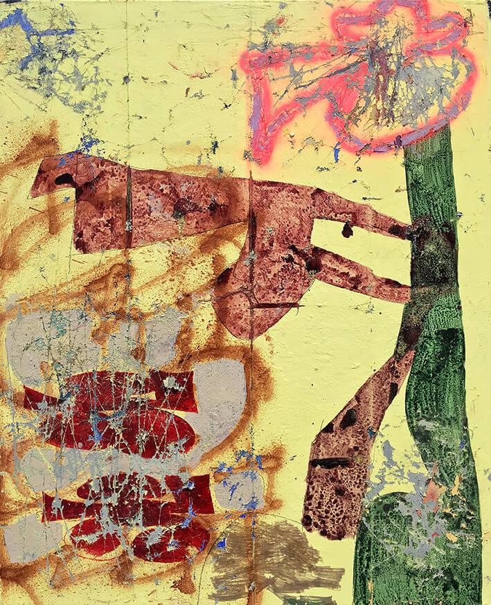 XAVI CEERRE. PASSARO (2021). Carboncillo, esmalte, acrílico, óleo, aerosol y barra de óleo sobre lienzo. 100 x 80 cm.