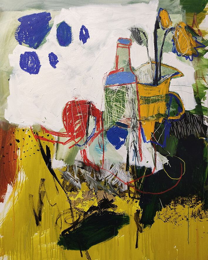 LUIS OLASO: COMPOSICIÓN PARA UNA NOCHE DE VERANO (2020). Óleo, barra de óleo, pastel al óleo, acrílico y collage sobre lienzo. 150 x 120 cm.