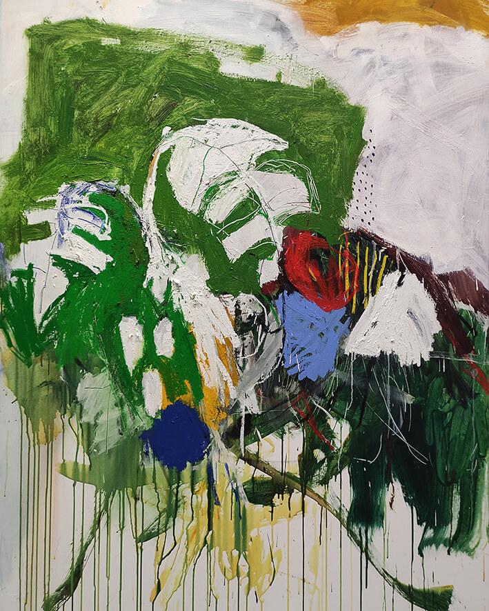 LUIS OLASO. COMPOSICIÓN PARA UNA MONSTERA (2021). Óleo, barra de óleo, pastel al óleo y acrílico sobre lienzo. 150 x 120 cm.